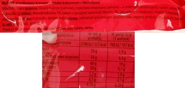 Wacuś, Spoko Wafel kakaowy, wafel bez czekolady z kremem kakaowym, skład i wartości odżywcze, copyright Olga Kublik
