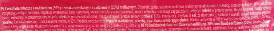 Millano, Baron Choco cups Raspberry Cheesecake, czekoladowe babeczki z kremem o smaku sernika z malinami, skład i wartości odżywcze, copyright Olga Kublik