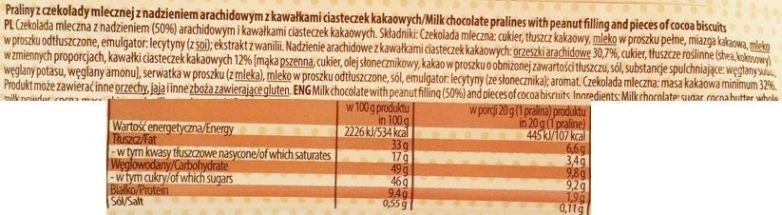 Millano-Baron, Magnetic Peanut Butter Cups with cocoa biscuits, babeczki czekoladowe z masłem orzechowym i kakaowymi ciasteczkami, słodycze z Biedronki, skład i wartości odżywcze, copyright Olga Kublik