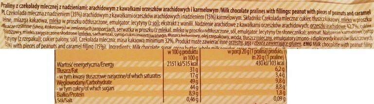 Millano-Baron, Magnetic Peanut Butter Cups with pieces of peanuts and caramel, babeczki z mlecznej czekolady z masłem orzechowym, fistaszkami i karmelem, słodycze z Biedronki, skład i wartości odżywcze, copyright Olga Kublik