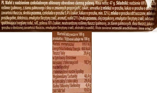 Mokate, Hi Easy Alpino wafel czekoladowy, kruche wafle częściowo oblane polewą kakaową, słodycze z Biedronki i Auchan, skład i wartości odżywcze, copyright Olga Kublik