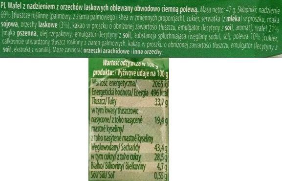 Mokate, Hi Easy Alpino wafel orzechowy, kruche wafle częściowo oblane polewą kakaową, słodycze z Biedronki i Auchan, skład i wartości odżywcze, copyright Olga Kublik