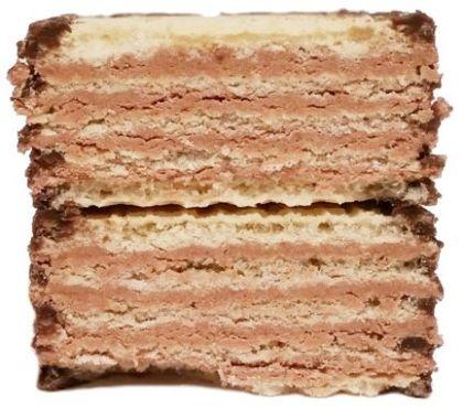 Mokate, Hi Easy Alpino wafel orzechowy, kruche wafle częściowo oblane polewą kakaową, słodycze z Biedronki i Auchan, copyright Olga Kublik