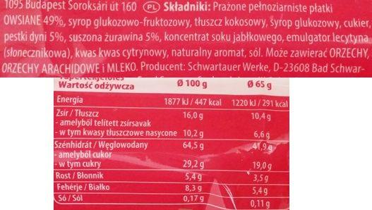 Schwartauer Werke, Corny Oatpower Flapjack cranberry - pumpkin seed, zdrowy baton owsiany z żurawiną i pestkami dyni, skład i wartości odżywcze, copyright Olga Kublik