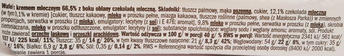 Tastino, Apeninky wafle z kremem mlecznym częściowo oblane mleczną czekoladą, słodycze z Lidla, Góralki marki własnej, skład i wartości odżywcze, copyright Olga Kublik