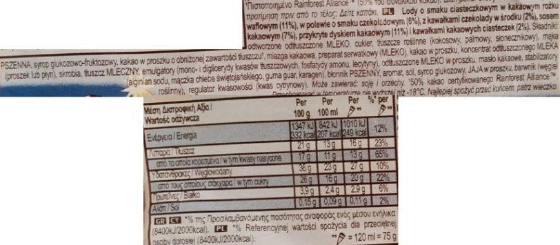 Algida, Cornetto Cookies ans Dream, rożek lodowy o smaku ciasteczkowym cookies and cream w waflu kakaowym z sosem kakaowym i polewą kakaową, skład i wartości odżywcze, copyright Olga Kublik