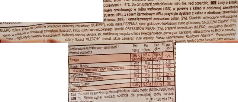 Algida, Cornetto Peanut Butter Love, rożek lodowy o smaku masła orzechowego z orzechami pecan, karmelowym sosem i kakaową polewą, skład i wartości odżywcze, copyright Olga Kublik
