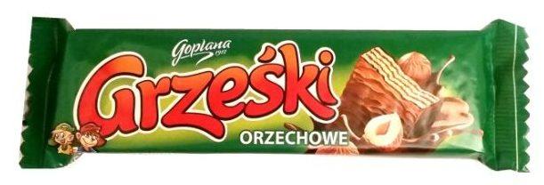 Goplana, Grześki orzechowe, kruche wafle w mlecznej czekoladzie z nadzieniem o smaku orzechów laskowych, copyright Olga Kublik