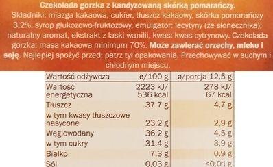J. D. Gross, czekolada gorzka Ekwador 70 z kandyzowana skórką pomarańczową, ciemna czekolada pomarańczowa z Lidla, skład i wartości odżywcze, copyright Olga Kublik