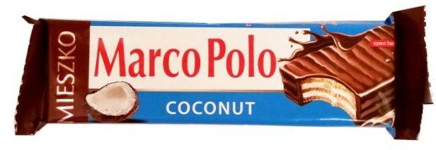 Mieszko, Marco Polo Coconut, kruchy wafelek z kremem kokosowym oblany mleczną czekoladą, polskie słodycze, copyright Olga Kublik