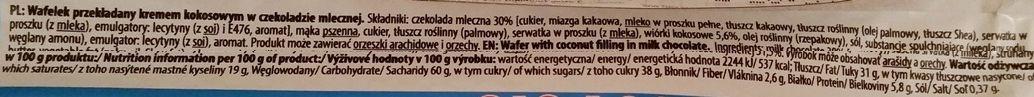 Mieszko, Marco Polo Coconut, kruchy wafelek z kremem kokosowym oblany mleczną czekoladą, polskie słodycze, skład i wartości odżywcze, copyright Olga Kublik