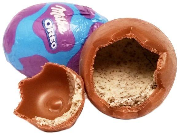 Milka, Egg and Spoon Oreo, wielkanocne słodycze, czekoladowe jajka z kremem cookies and cream, nadzienie ciasteczkowe z herbatnikami, copyright Olga Kublik