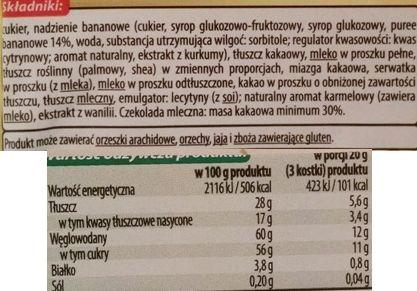 Millano-Baron, Magnetic Banan Karmel, mleczna czekolada z nadzieniem bananowo-karmelowym, skład i wartości odżywcze, copyright Olga Kublik