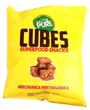 Purella Food, Enjoy Pure Cubes Superfood Snacks miechunka peruwiańska, raw food, surowe słodycze, copyright Olga Kublik