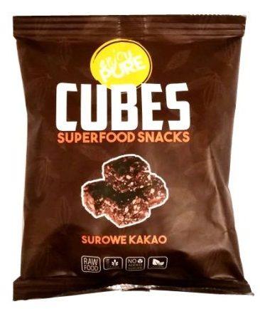 Purella Food, Enjoy Pure Cubes Superfood Snacks surowe kakao, surowe praliny, wegańskie słodycze bez glutenu, kakaowe zdrowe łakocie, copyright Olga Kublik