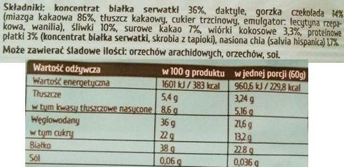Purella Food, Ewa Chodakowska Be Raw Protein 38, wegetariański surowy baton białkowy, zdrowe słodycze z czekoladą, skład i wartości odżywcze, copyright Olga Kublik