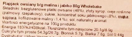 Wholebake, Flapjack Apple and raspberry, wegański baton owsiany z jabłkiem i maliną, wegetariańskie słodycze bez glutenu, skład i wartości odżywcze, copyright Olga Kublik