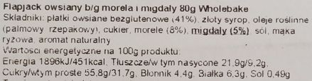 Wholebake, Flapjack Apricot and almond, zdrowy wegański baton owsiany z morelą i migdałami, wegetariańskie słodycze bez glutenu, skład i wartości odżywcze, copyright Olga Kublik