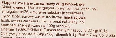 Wholebake, Flapjack Cranberry, wegański baton owsiany z żurawiną, wegetariańskie słodycze bez glutenu, skład i wartości odżywcze, copyright Olga Kublik