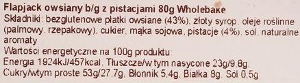 Wholebake, Flapjack Pistachio, zdrowy wegański baton owsiany z pistacjami, słodycze bez glutenu, skład i wartości odżywcze, copyright Olga Kublik