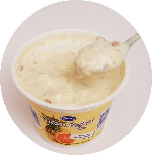 Desira, 4-Korn-Joghurt mild - seria jogurtów owocowych z ziarnami zbóż i musli, desery light, Aldi, copyright Olga Kublik