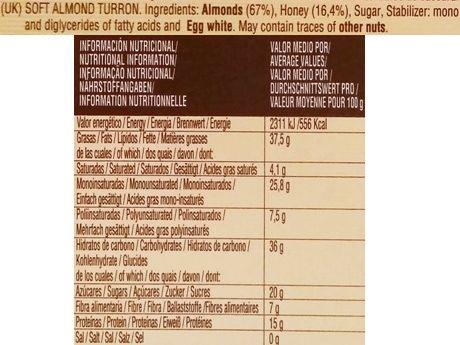 El Almendro, Turron Blando, hiszpański nugat z migdałów, skład i wartości odżywcze, copyright Olga Kublik