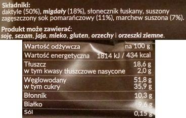Foods by Ann, Pocket Energy Bar Marchew Pomarańcza, surowy wegański batonik od Anny Lewandowskiej, skład i wartości odżywcze, copyright Olga Kublik