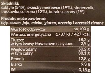 Foods by Ann, Pocket Energy Bar Truskawka Burak, wegański surowy baton od Anny Lewandowskiej, skład i wartości odżywcze, copyright Olga Kublik