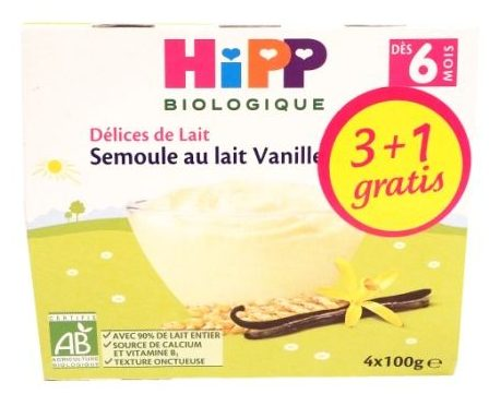 HiPP, Delices de Lait Semoule au lait Vanille, kaszka manna waniliowa dla dzieci, zdrowy deser, copyright Olga Kublik
