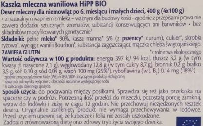 HiPP, Delices de Lait Semoule au lait Vanille, kaszka manna waniliowa dla dzieci, zdrowy deser, skład i wartości odżywcze, copyright Olga Kublik