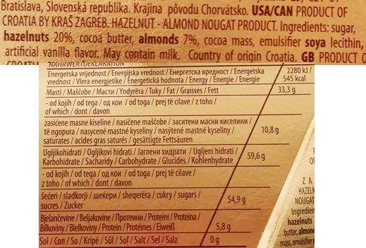 Kras, Bajadera Hazelnut Almond Nougat, recenzja cukierków nugatowych z orzechów laskowych i migdałów, skład i wartości odżywcze, copyright Olga Kublik