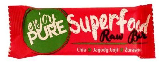 Purella Food, Enjoy Pure Superfood Raw Bar Chia Jagody Goji Żurawina, wegański surowy baton bez glutenu, copyright Olga Kublik