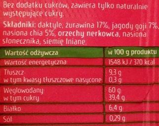 Purella Food, Enjoy Pure Superfood Raw Bar Chia Jagody Goji Żurawina, wegański surowy baton bez glutenu, skład i wartości odżywcze, copyright Olga Kublik