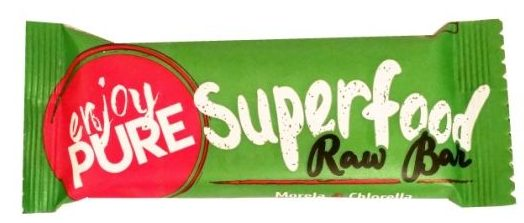 Purella Food, Enjoy Pure Superfood Raw Bar Morela Chlorella, surowy wegański baton, copyright Olga Kublik