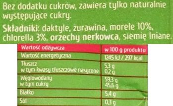 Purella Food, Enjoy Pure Superfood Raw Bar Morela Chlorella, surowy wegański baton, skład i wartości odżywcze, copyright Olga Kublik