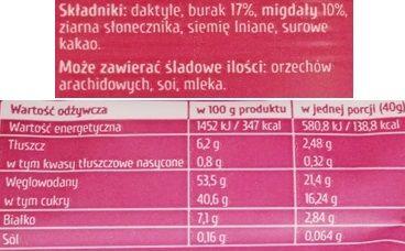 Purella Food, Ewa Chodakowska Be Raw Superfood bar, surowy wegański baton o smaku kakao i buraka, skład i wartości odżywcze, copyright Olga Kublik