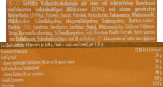 Ritter Sport, Spekulatius, zimowa edycja, mleczna czekolada z herbatnikiem korzennym, skład i wartości odżywcze, copyright Olga Kublik