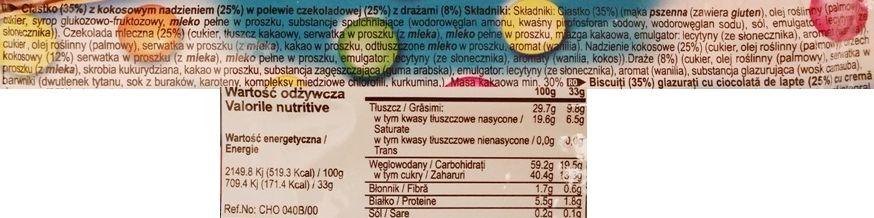 Solen, Papita z ciastkiem pokrytym mleczną czekoladą, kremem kokosowym i drażami, skład i wartości odżywcze, copyright Olga Kublik