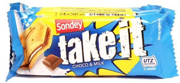 Sondey, Take it choco & milk, ciastka z Lidla, kruche herbatniki z kremem mleczno-czekoladowym, copyright Olga Kublik