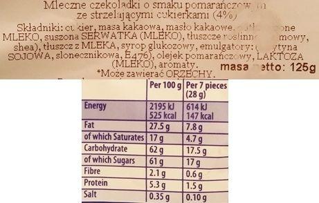 Terry's, Chocolate Orange Minis Exploding Candy, pomarańczowe czekoladki ze strzelającymi cukierkami, skład i wartości odżywcze, copyright Olga Kublik