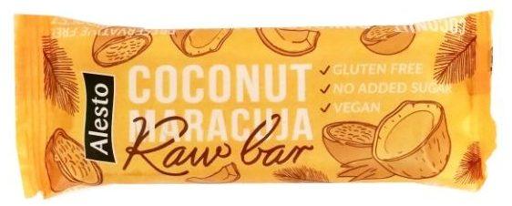 Alesto, Raw Bar Coconut Maracuja, wegański baton z daktyli, marakui i wiórków kokosowych, dietetyczne słodycze bez glutenu, copyright Olga Kublik