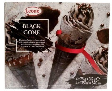 Leone, Black Cone, czarne rożki lodowe o smaku kakao w waflu kakaowym z polewą czekoladową i chrupkami, copyright Olga Kublik