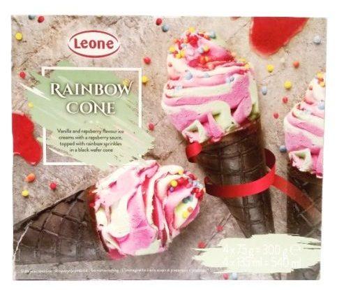 Leone, Rainbow Cone, tęczowe lody w rożku z Biedronki, kakaowy wafel i lody malinowo-waniliowe, copyright Olga Kublik