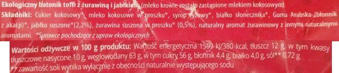 Super Krówka, Batonik toffi żurawina i jabłko, zdrowe wegańskie krówki z suszonymi owocami i kokosem, skład i wartości odżywcze, copyright Olga Kublik