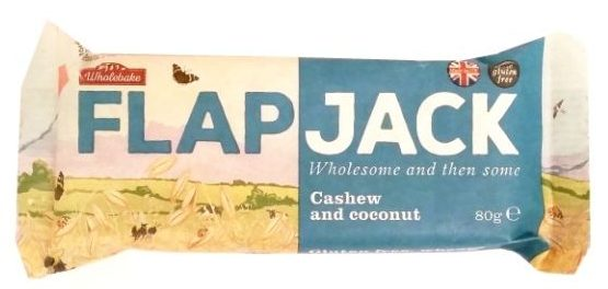 Wholebake, Flapjack Cashew and coconut, zdrowy wegański baton owsiany bez glutenu z orzechami nerkowca i kokosem, copyright Olga Kublik