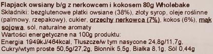 Wholebake, Flapjack Cashew and coconut, zdrowy wegański baton owsiany bez glutenu z orzechami nerkowca i kokosem, skład i wartości odżywcze, copyright Olga Kublik