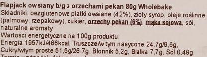 Wholebake, Flapjack Pecan, zdrowy wegański baton z orzechami pekan i płatkami owsianymi, skład i wartości odżywcze, copyright Olga Kublik