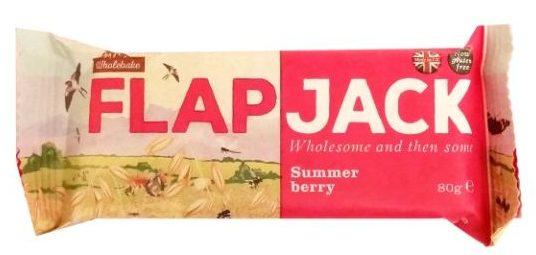 Wholebake, Flapjack Summer berry, wegański baton owsiany z truskawkami i malinami, słodycze bez glutenu, copyright Olga Kublik
