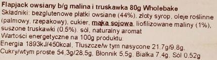 Wholebake, Flapjack Summer berry, wegański baton owsiany z truskawkami i malinami, słodycze bez glutenu, skład i wartości odżywcze, copyright Olga Kublik