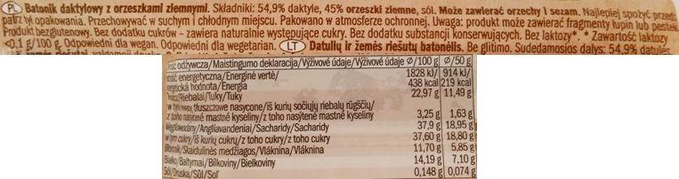 Alesto, Raw Bar Peanuts Dates, wegański baton z daktylami i fistaszkami, kompozycja a la masło orzechowe, surowy baton wegański, skład i wartości odżywcze, copyright Olga Kublik